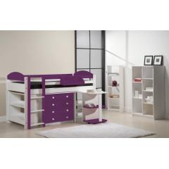 Ensemble lit et meubles intégrés  90x200 Pin massif Blanc et Lilas