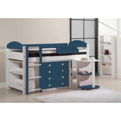 Ensemble lit et meubles intégrés  90x200 Pin massif Blanc et Bleu