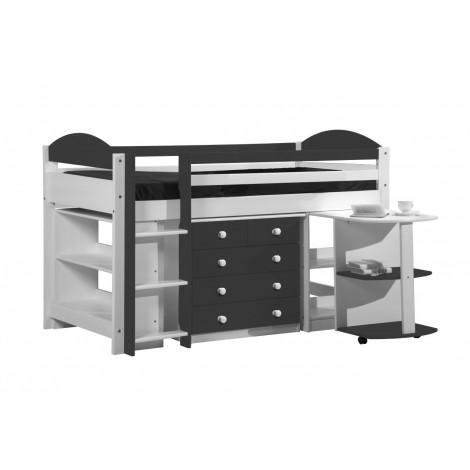 Ensemble lit et meubles intégrés  90x190/200 Pin massif Blanc et Graphite