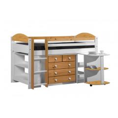 Ensemble lit et meubles intégrés  90x200 Pin massif Blanc et Miel Antique