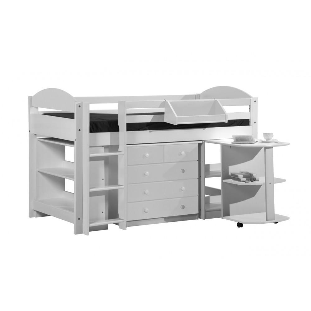 ensemble lit et meubles integres 90x190 90x200 pin massif blanc. Black Bedroom Furniture Sets. Home Design Ideas