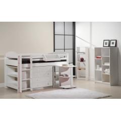 Ensemble lit meubles  90x200 Pin massif Blanc