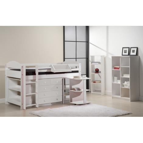 Ensemble lit et meubles intégrés  90x190/200 Pin massif Blanc