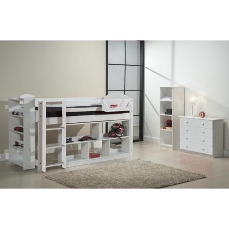 Ensemble lit et meubles étagères 90x190/200 Pin massif Blanc