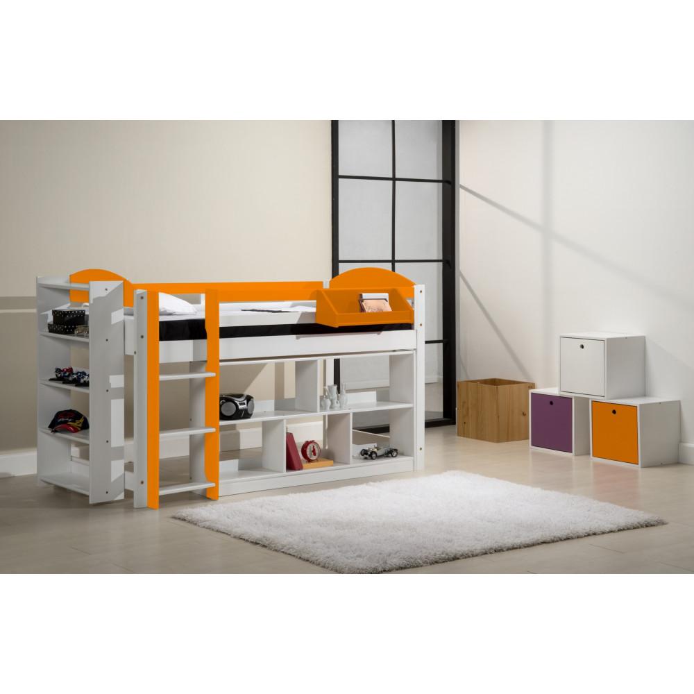 ensemble lit et meubles etageres 90x190 90x200 pin massif blanc et orange. Black Bedroom Furniture Sets. Home Design Ideas