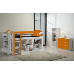 Ensemble lit et meubles étagères 90/200 Pin massif Blanc et Orange