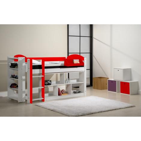 Ensemble lit et meubles étagères 90x190/200 Pin massif Blanc et rouge
