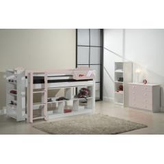 Ensemble lit et meubles étagères 90x200 Pin massif Blanc et Rose