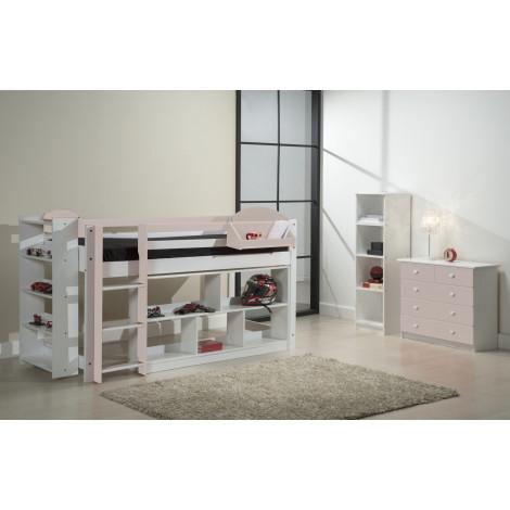 Ensemble lit et meubles étagères 90x190/200 Pin massif Blanc et Rose