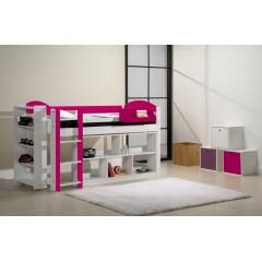 Ensemble lit et meubles étagères 90x200 Pin massif Blanc et fuchsia