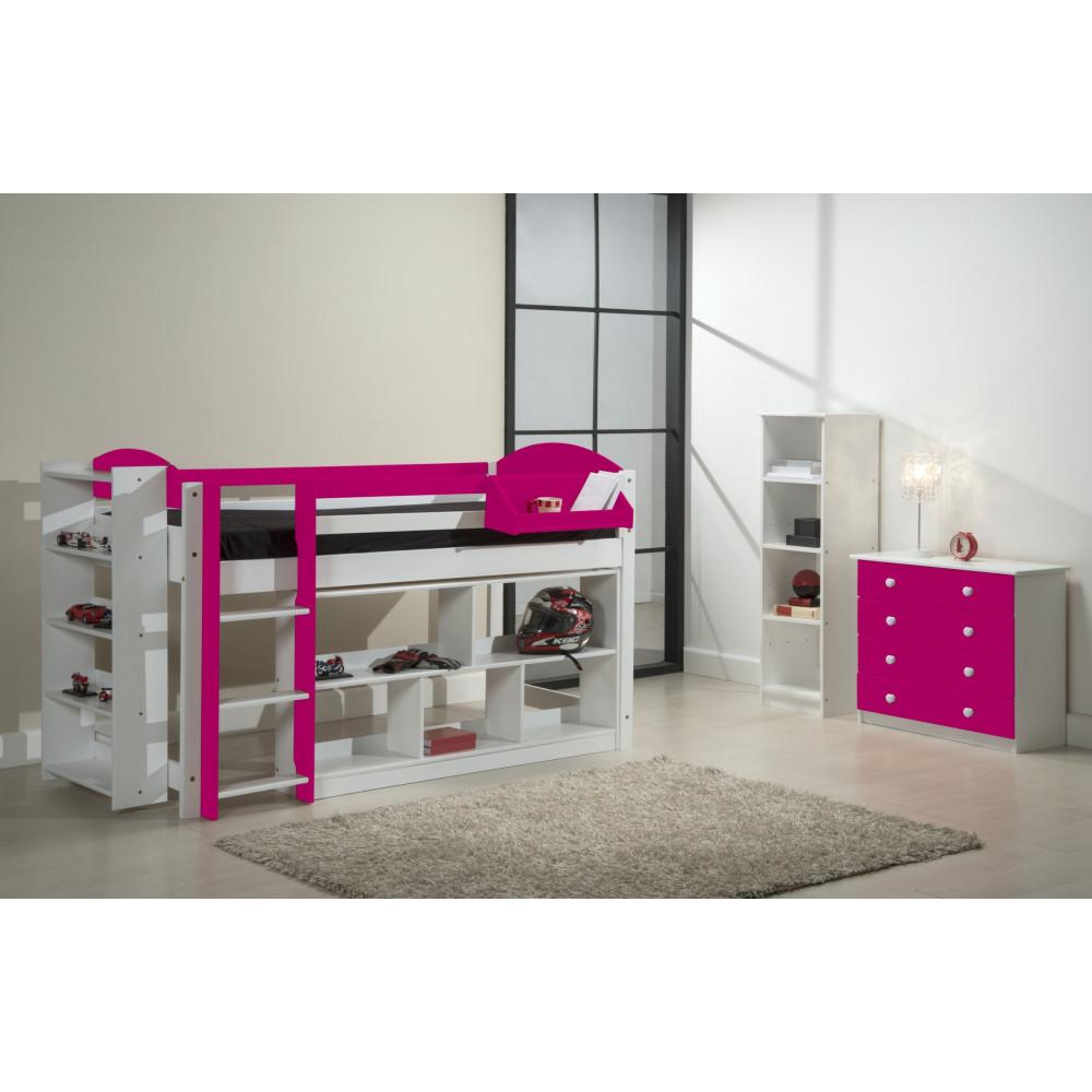 ensemble lit et meubles etageres 90x190 90x200 pin massif blanc et fuchsia. Black Bedroom Furniture Sets. Home Design Ideas