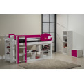 Ensemble lit et meubles étagères 90x190/200 Pin massif Blanc et fuchsia