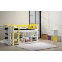 Ensemble lit et meubles étagères 90x190/200 Pin massif Blanc et Jaune