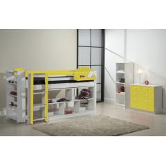 Ensemble lit et meubles étagères 90x200 Pin massif Blanc et Jaune