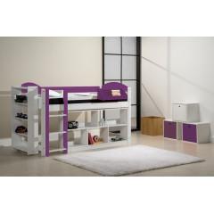 Ensemble lit et meubles étagères 90x200 Pin massif Blanc et Lilas