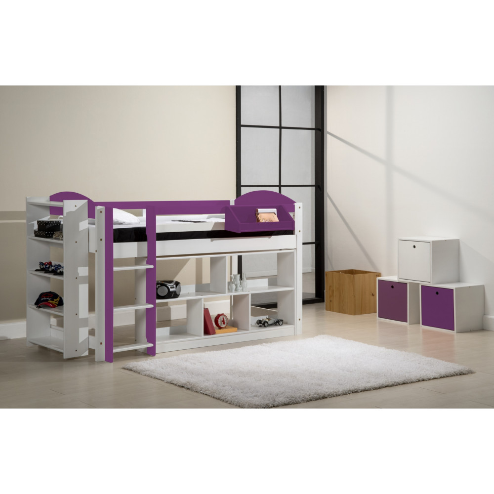 ensemble lit et meubles etageres 90x190 90x200 pin massif blanc et lilas. Black Bedroom Furniture Sets. Home Design Ideas
