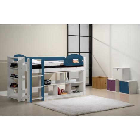 Ensemble lit et meubles étagères 90x190/200 Pin massif Blanc et Bleu