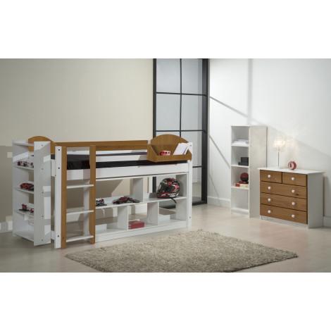 Ensemble lit et meubles étagères 90x190/200 Pin massif Blanc et Miel Antique