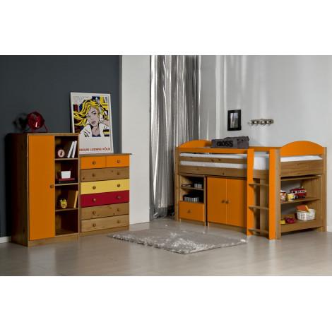 Ensemble lit et meubles étagères 90x190/200 Pin massif Miel Antique et Orange