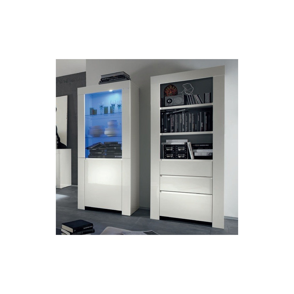 bahut biblioth que avec vitrine blanche moderne. Black Bedroom Furniture Sets. Home Design Ideas