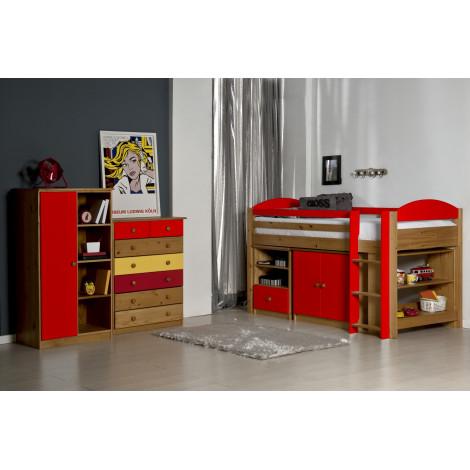 Ensemble lit et meubles étagères 90x190/200 Pin massif Miel Antique et Rouge