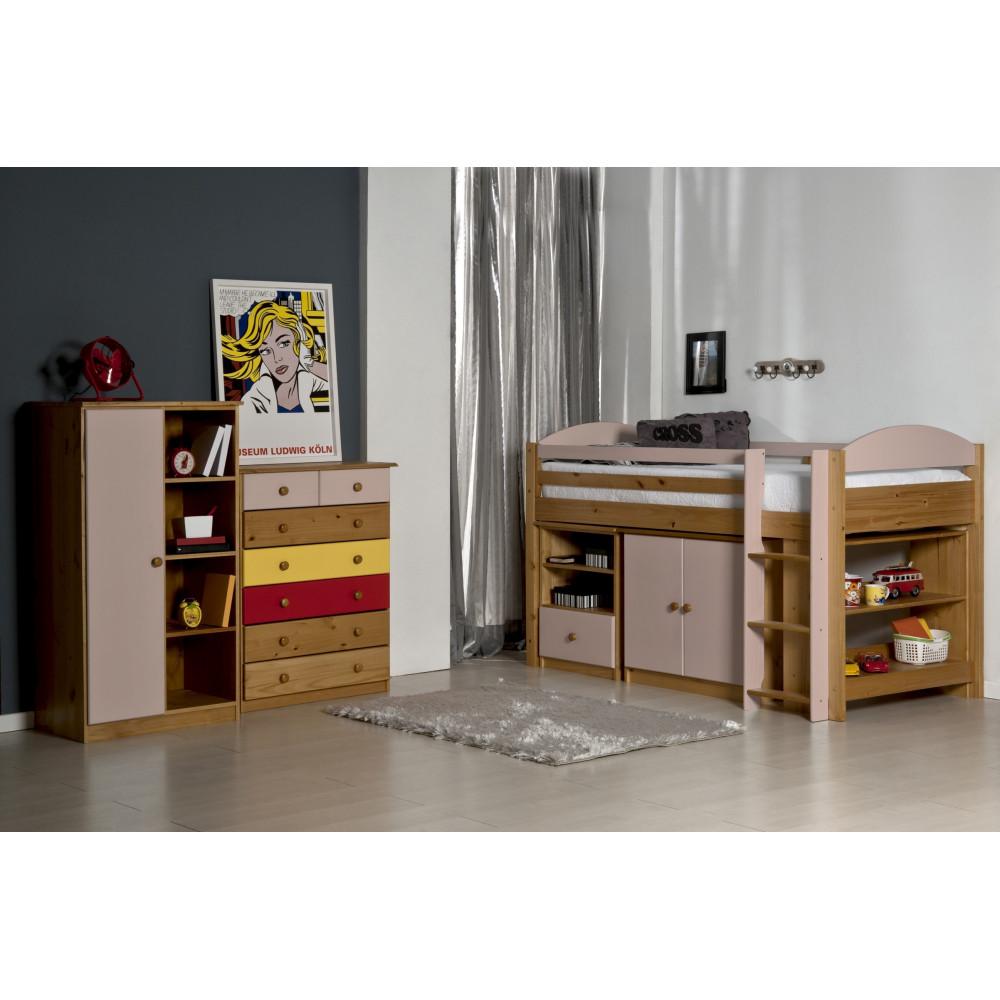 Ensemble lit et meubles 90x190 90x200 pin massif miel for Ensemble bureau etagere