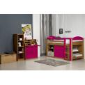 Ensemble lit et meubles étagères 90x190/200 Pin massif Miel Antique et Fuchsia