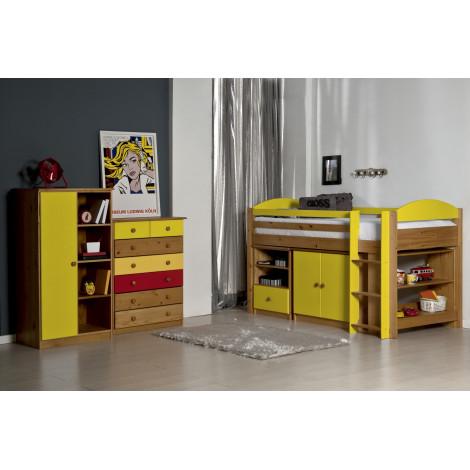 Ensemble lit et meubles étagères 90x190/200 Pin massif Miel Antique et Jaune
