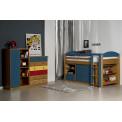 Ensemble lit et meubles étagères 90x190/200 Pin massif Miel Antique et Bleu