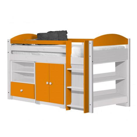 Ensemble lit et meubles étagères 90x190/200 Pin massif Blanc et Orange