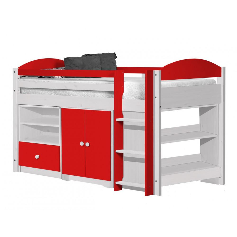Ensemble lit et meubles 90x190 90x200 pin massif miel antique et blanc et rouge - Meuble rouge et blanc ...