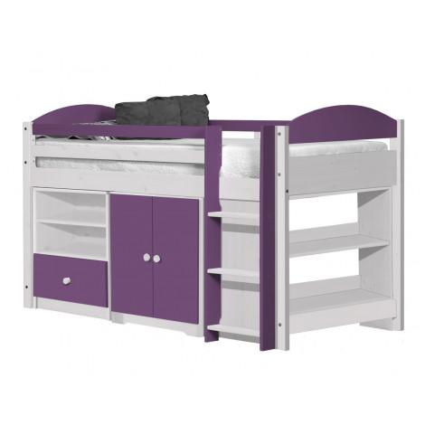 Ensemble lit et meubles étagères 90x190/200 Pin massif Blanc et Lilas