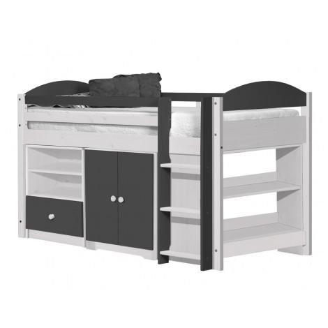 Ensemble lit et meubles étagères 90x190/200 Pin massif Blanc et Graphite