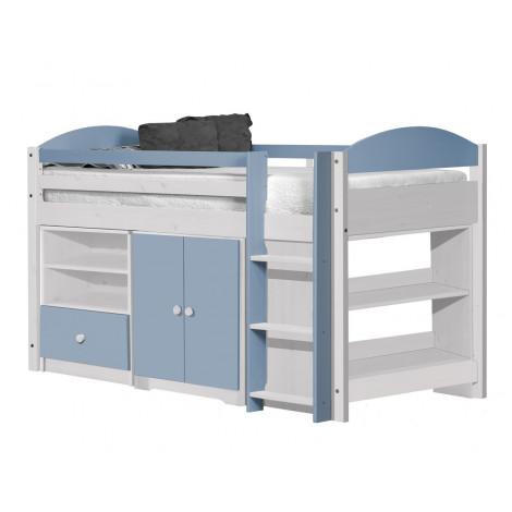Ensemble lit et meubles étagères 90x190/200 Pin massif Blanc et Bleu Baby