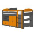 Ensemble lit et meubles étagères 90x190/200 Pin massif Gris et Orange