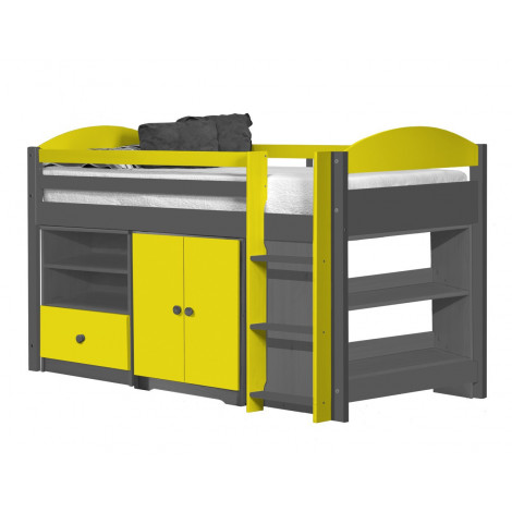 Ensemble lit et meubles étagères 90x190/200 Pin massif Gris et Jaune