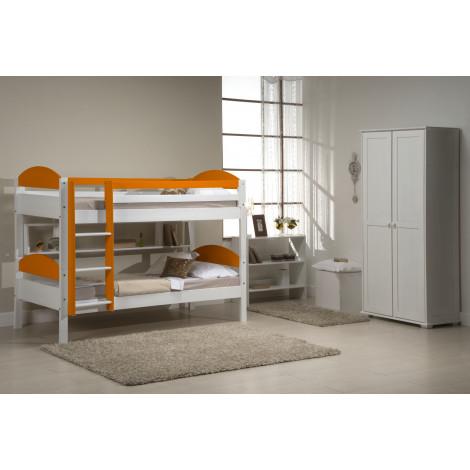 Lits superposés  Pin massif Blanc et Orange