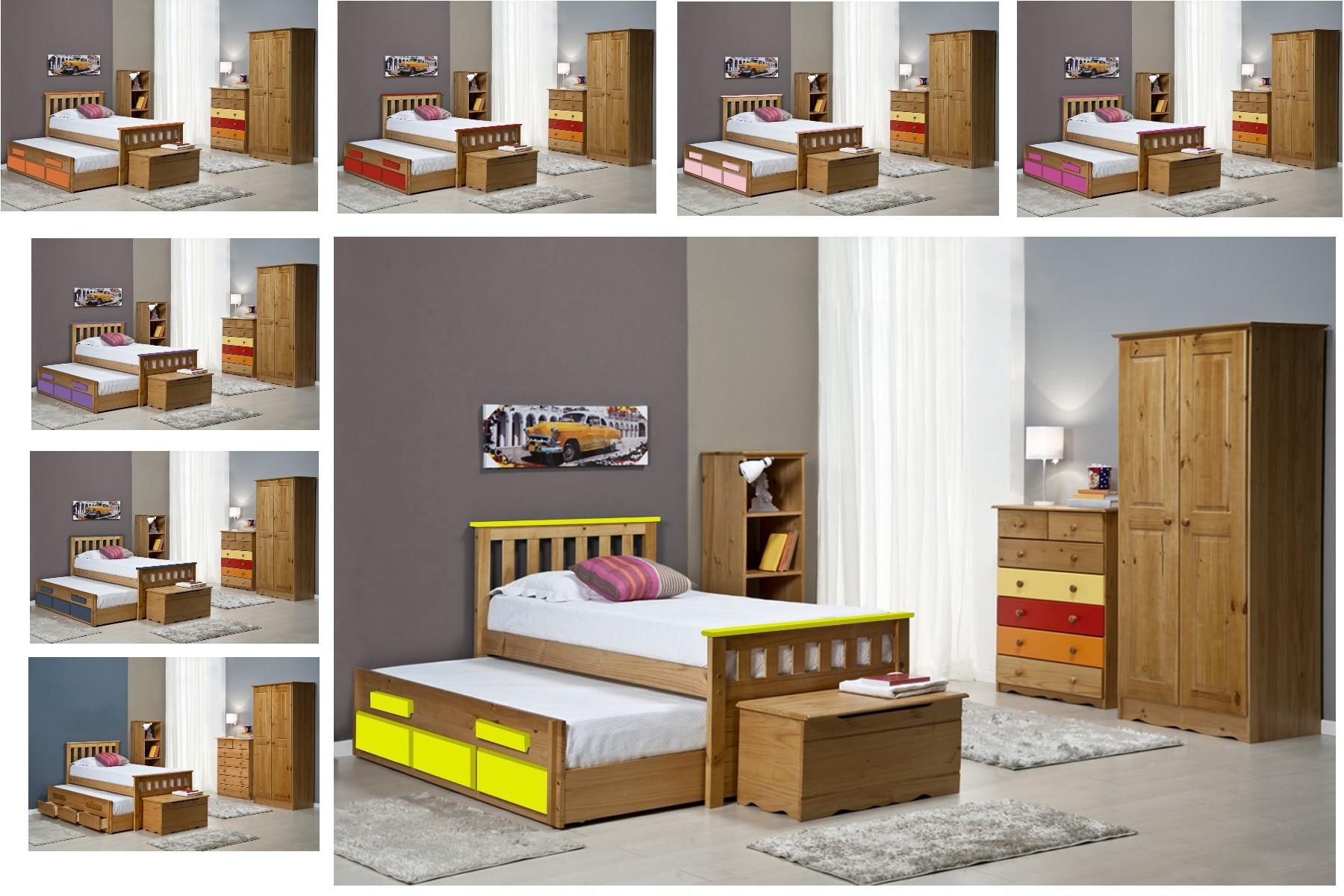 lit gigogne et meubles 90x190 90x200 pin massif miel antique et blanc. Black Bedroom Furniture Sets. Home Design Ideas