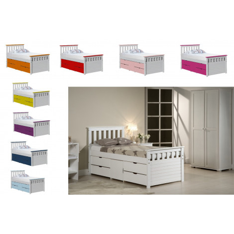 Lit coffre 90x190/200 Pin massif Blanc +11 coloris