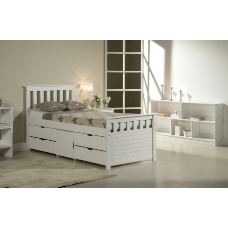 lit coffre et meubles 140x190 pin massif blanc. Black Bedroom Furniture Sets. Home Design Ideas