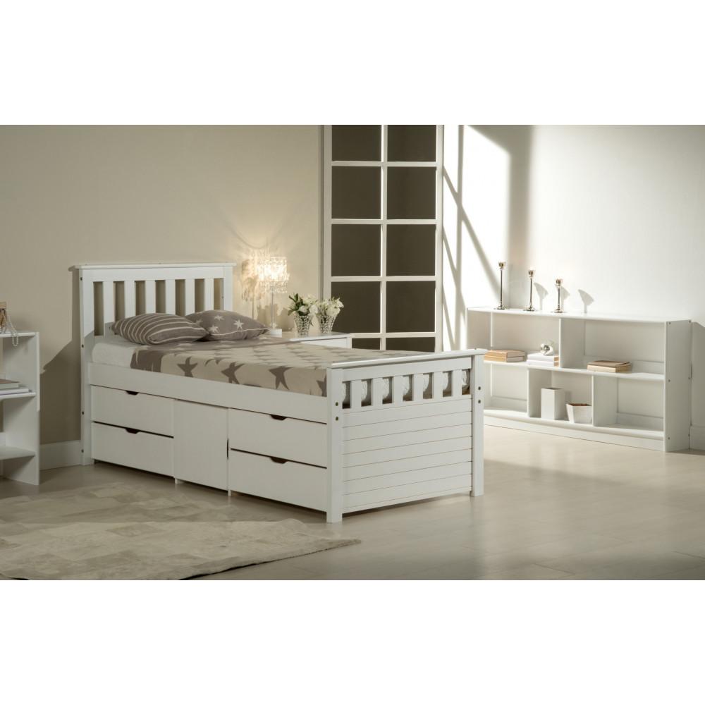 lit coffre et meubles 140x190 pin massif blanc. Black Bedroom Furniture Sets. Home Design Ideas