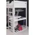 lit Mezzanine et meubles intégrés  90x190/200 Pin massif Graphite