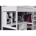 lit Mezzanine et meubles intégrés  90x190/200 Pin massif Blanc