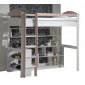 Lit intégré 90x190/200 Pin massif Graphite