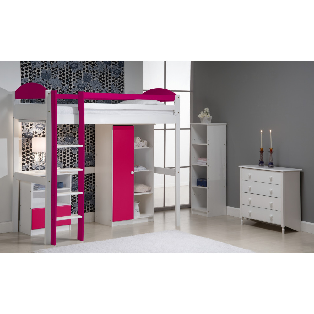 lit mezzanine avec armoire 90x190 200 pin massif blanc 11 coloris. Black Bedroom Furniture Sets. Home Design Ideas