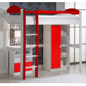 Lit Mezzanine avec armoire 90x190/200 Pin massif Blanc +11 coloris