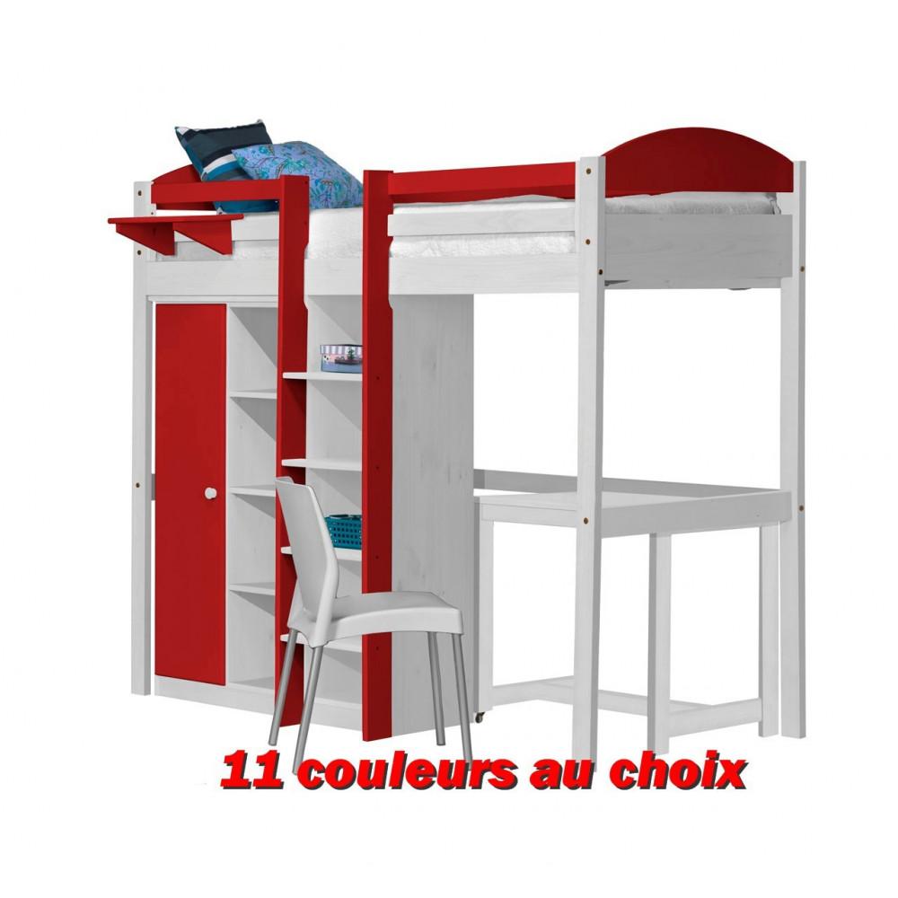 lit mezzanine avec rangements 90x190 200 pin massif blanc. Black Bedroom Furniture Sets. Home Design Ideas