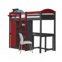 Lit Mezzanine avec armoire 90x190/200 Pin massif Graphite +11 coloris