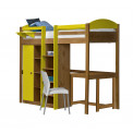 Lit Mezzanine avec armoire 90x190/200 Pin massif Miel antique +11 coloris