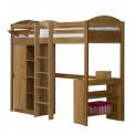 Lit Mezzanine meuble intégré 90x190/200 Pin massif Miel antique +11 coloris